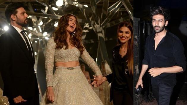 Kartik Aaryan cheered for Sara Ali Khan as she walked the ramp at FDCI India Couture Week 2019 in Delhi.(AFP/IANS)