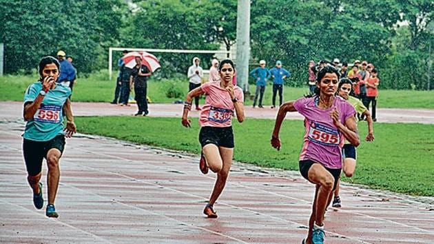 100 metre semifinal for girls under-18.(HT Photo)