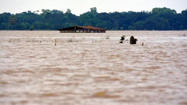 A flood-affected area after heavy rainfall, in Darbhanga district of Bihar. (Parwaz Khan / HT Photo)
