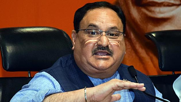 BJP working president JP Nadda addressing a press conference at BJP headquarters.(ANI Photo)