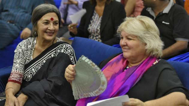 Aleida Guevara March (L) the eldest daughter of Che Guevara along with CPI(M) leader Brinda Karat, is seen during an event organised on the occasion of 60 years of Cuban Revolution, at Constitution Club of India, in New Delhi. (Burhaan Kinu / HT Photo)