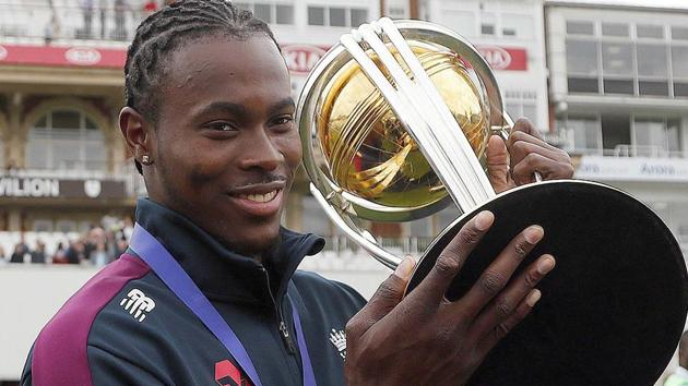 London: England's Jofra Archer celebrates with the trophy.(AP)