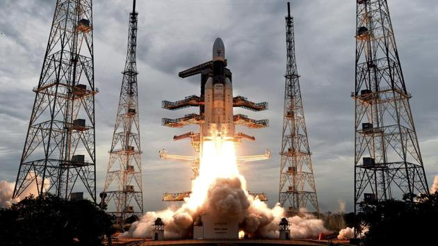 Geosynchronous Satellite launch Vehicle (GSLV) MkIII carrying Chandrayaan-2 lift off from Satish Dhawan Space center in Sriharikota, Andhra Pradesh. India successfully launched an unmanned spacecraft to the far side of the moon on Monday, a week after aborting the mission due to a technical problem. (ISRO / AP)