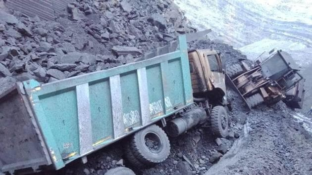 The aftermath of a landslide at Coal India Ltd mine, in Odisha. Four workers were dead and nine have been injured in the landslide. (HT Photo)
