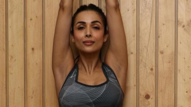 Malaika Arora practices yoga asanas - postures - on the 5th International Yoga Day.(IANS)
