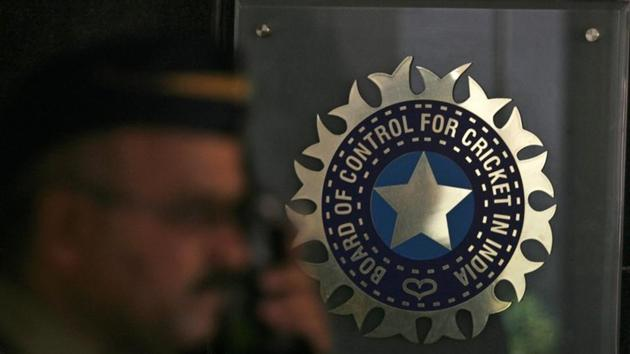 File Photo: A policeman walks past a logo of the Board of Control for Cricket in India (BCCI) during a governing council meeting of the Indian Premier League (IPL) at BCCI headquarters in Mumbai April 26, 2010. REUTERS/Arko Datta(REUTERS)
