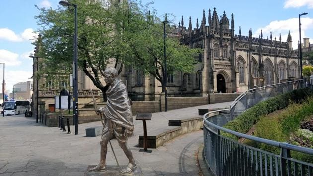 It will be the fifth Gandhi statue installed in a public place in the UK, after those in Tavistock Square, London (1968), Belgrave Road, Leicester (2009), Parliament Square, London (2015) and Cardiff Bay, Cardiff (2017).(HT Photo)