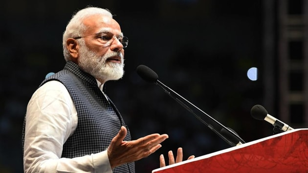 Prime Minister Narendra Modi addressing a programme to mark Kargil Vijay Diwas in New Delhi.(PTI Photo)