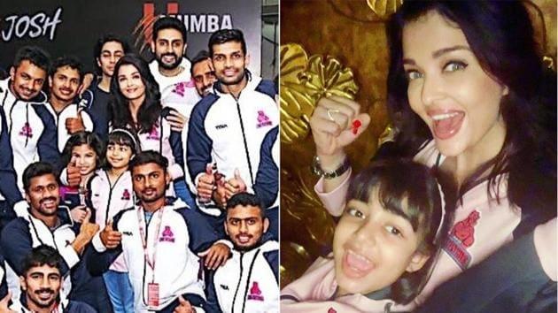 Aishwarya Rai Bachchan and Aaradhya cheer for Abhishek Bachchan's kabaddi team Jaipur Pink Panthers.(Instagram)