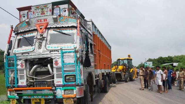 The front portion of the car was crushed in the incident near Ataura outpost under Gurubakshganj police station limits of Rae Bareli at around 1pm(HT Photo)