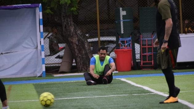 MS Dhoni took part in a football match with Arjun Kapoor on Sunday.(Varinder Chawla)