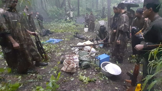 Photos of the Maoist camp where the encounter took place.(HT Photo)