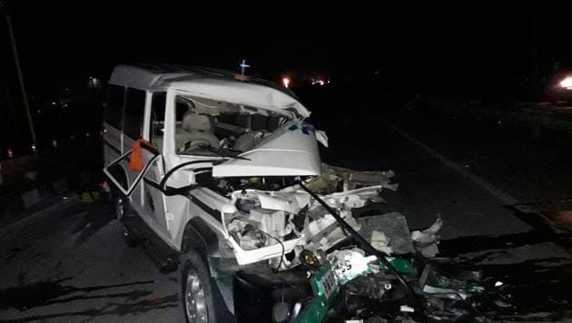 One of the vehicles that met with an accident in Patiala district.(HT PHoto)