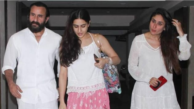 Saif Ali Khan with his daughter Sara Ali Khan and wife Kareena Kapoor.