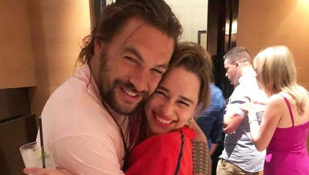 Jason Momoa with his friend and Game of Thrones co-star Emilia Clarke.