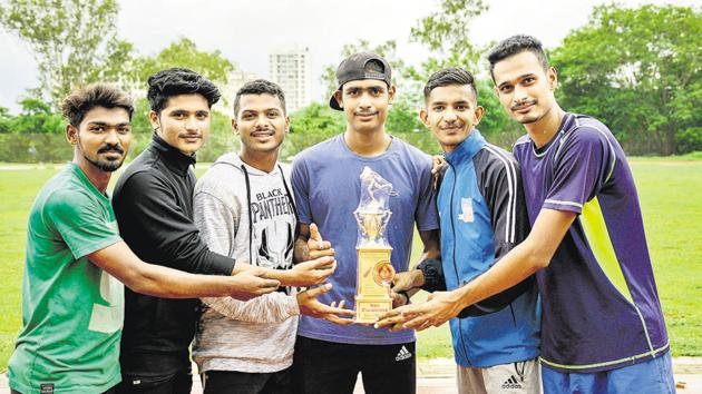 Boys from the under-20 category of Pune Athletics Club won the overall winner trophy of Pune Athletic Junior Championship at Shri Shiv Chhatrapati Sports Complex Balewadi in Pune, India, on Sunday, July 28, 2019.(Milind Saurkar/HT Photo)