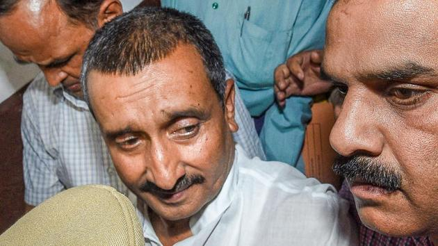 Kuldeep Singh Sengar, a four-time MLA who represents Bangarmau in the Uttar Pradesh assembly, was arrested in 2018 for allegedly raping the teenage girl at his residence in 2017. That case too was registered on a complaint by the survivor's uncle, and the family battled for the one-year period in between.(PTI)