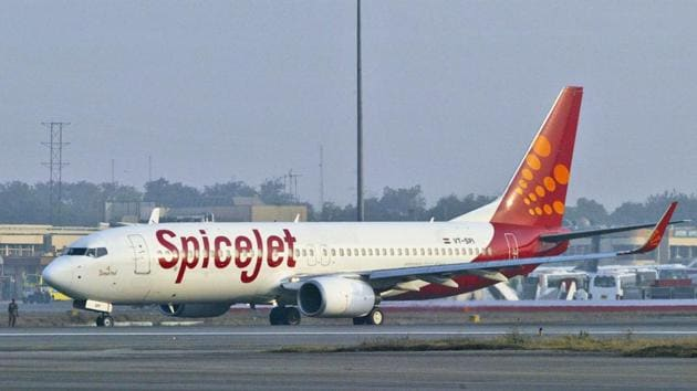 Two pilots of the SpiceJet flight to Mumbai that overshot the runway with 160 passengers and was stuck in the ground for four days have been banned from flying for the next one year.(AP Photo)