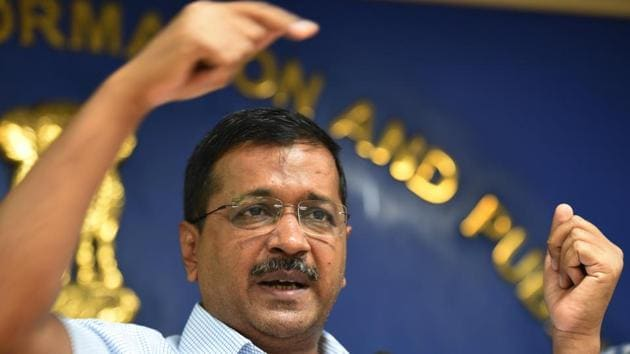 Chief Minister of Delhi Arvind Kejriwal blamed the previous governments for not taking the work of unauthorised colonies seriously.(Arvind Yadav/HT PHOTO)