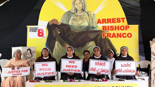 File photo of nuns' protest against bishop Franco Mullakal demanding justice for the nun who has accused him of sexual assault.(Vivek Nair / HT File Photo)