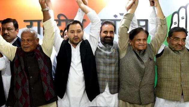 Leaders of Grand Alliance during a press conference, at All India Congress Committee office (AICC), in New Delhi, , on December 20, 2018.(Amal KS / HT File Photo)