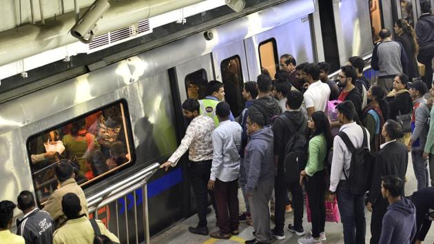 Two of Delhi Metro's lines constitute a disproportionately high majority of ridership in its entire network.(Amal KS/HT File Photo)