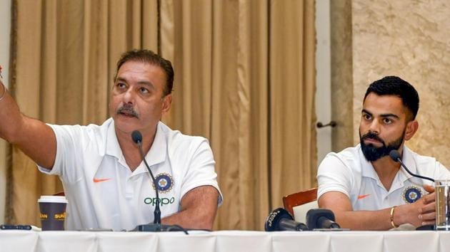 Indian cricket Captain Virat Kohli along with coach Ravi Shastri addresses a pre-departure press conference.(PTI)