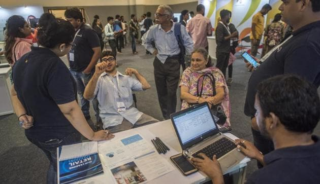 Participants during Vividh which is First LGBTQ, Specially abled and acid attack survivors job fair at Nehru Centre,Worliin Mumbai, India, on Sunday, July 28, 2019.(Pratik Chorge/HT Photo)