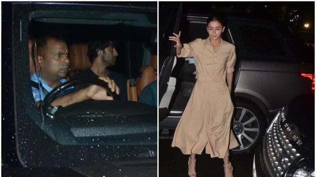 Alia Bhatt and Ranbir Kapoor were photographed outside Dharma Productions' office in Mumbai on Monday.(Varinder Chawla)