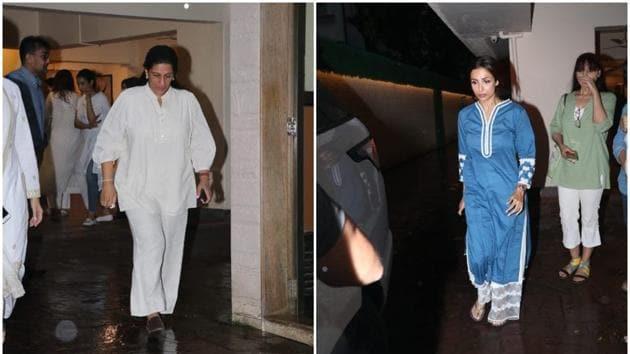 Malaika Arora and Anju Bhavnani were among those who arrived at the residence of Kehkasshan Patel.(Varinder Chawla)