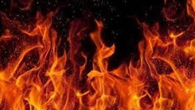 Fire officials brought under control a fire reported at a chicken shop in Central Arcade, DLF Phase-2.(HT File)