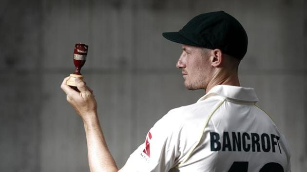 Cameron Bancroft of Australia poses with a replica Ashes Urn after the Australia Ashes Squad Announcement.(Getty Images)