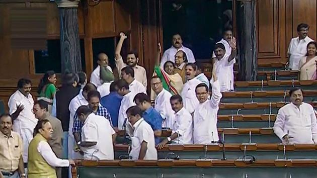 Lok Sabha witnessed vociferous protests and sloganeering by Opposition parties over the incident of Unnao rape survivor getting injured in a car crash.(PTI Photo)