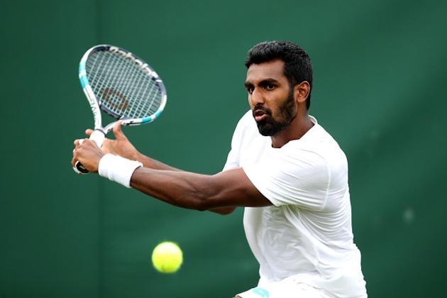 Prajnesh Gunneswaran of India plays a backhand.(Getty Images)