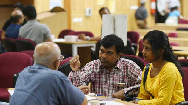 An IIT Delhi official said the main problem is that state-owned companies announce their selection of candidates after the academic year has started. IIT-D saw rise in droputs.(Amal KS/HT PHOTO)
