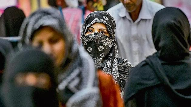 The triple talaq bill, passed thrice by the Lok Sabha earlier, cleared its toughest test in the Rajya Sabha on Tuesday.(HT Photo)