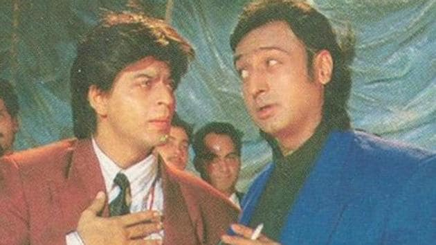 Gulshan Grover and Shah Rukh Khan in a still from Yes Boss.
