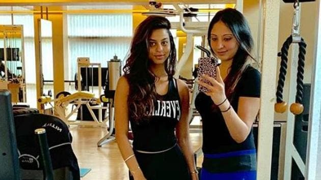 Suhana Khan poses with her instructor.