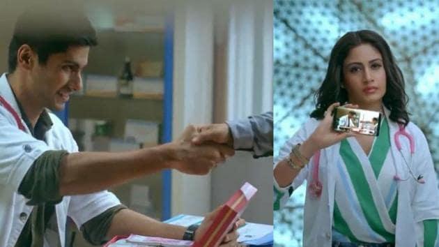 Namit Khanna and Surbhi Chandna in a still from Sanjivani promo.