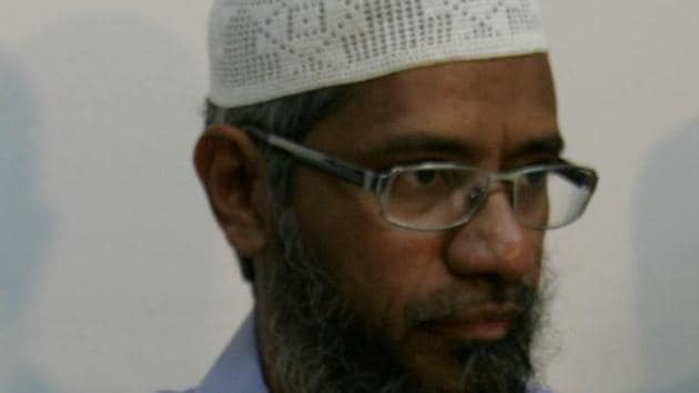 Zakir Naik is being sought in PMLA case.(HT FILE)