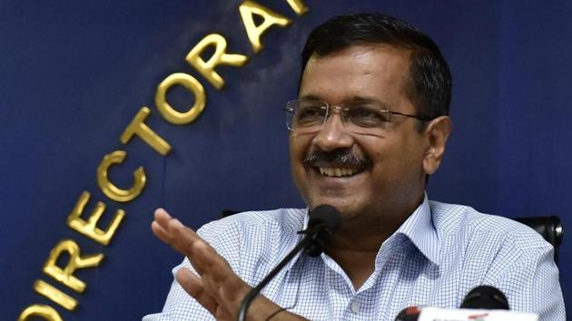 Delhi Chief Minister Arvind Kejriwal speaks to media during a press conference over Mukhyamantri Tirth Yatra and other issues, in New Delhi(Mohd Zakir/ Hindustan Times)