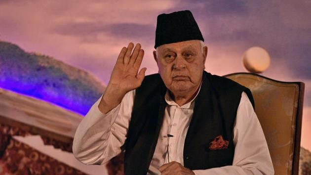 The ED on Wednesday questioned former Jammu and Kashmir chief minister Farooq Abdullah in connection with a money laundering case.(Amal KS/HT PHOTO)