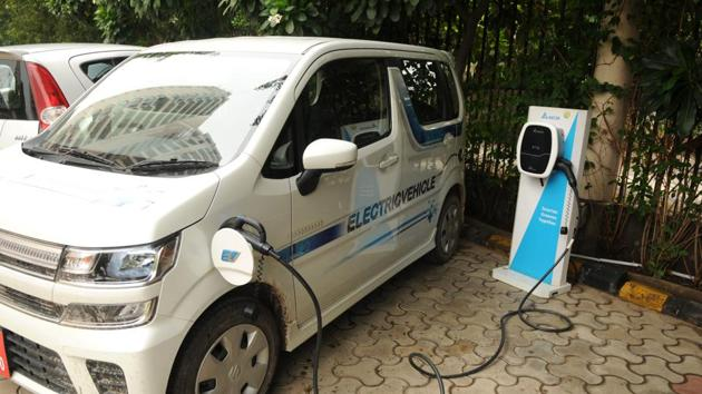 A charging point for electric vehicles in Gurugram, India, July 5, 2019(Parveen Kumar/Hindustan Times)