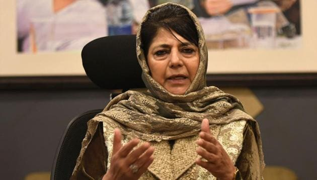 Peoples Democratic Party (PDP) president and former chief minister of Jammu Kashmir, Mehbooba Mufti had been embarrassed after two of the party's Rajya Sabha MPs abstained from voting on the triple talaq bill.(HT PHOTO)