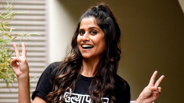Actor Sai Tamhankar during the promotion of her film Girlfriend(Sanket Wankhade/HT PHOTO)