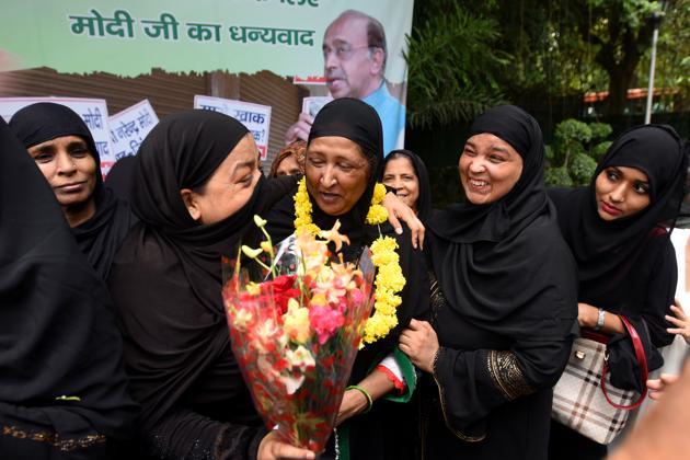 Muslim women during celebrations on the passing of the Triple Talaq bill in Rajya Sabha.(Amal KS/HT FILE PHOTO)