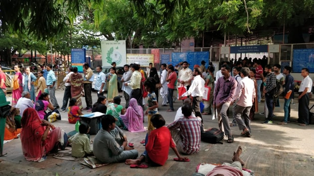 Patients waiting outside OPD due to doctors' strike against NMC bill.(Amal KS)