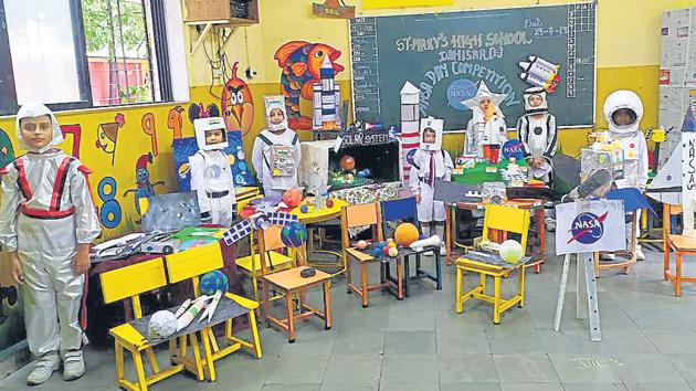 Students of St Mary's High School in Dahisar dressed up as astronauts, stars and aliens.