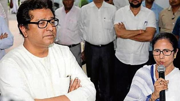 Banerjee also supported Thackeray, saying even she was against EVMs.(HT FILE)