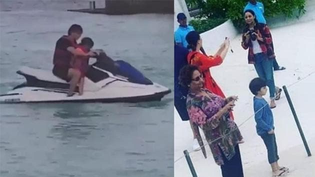 Shah Rukh Khan and son AbRam ride a water-scooter (left) Gauri Khan and AbRam enjoy sights of Maldives (right).(Instagram)